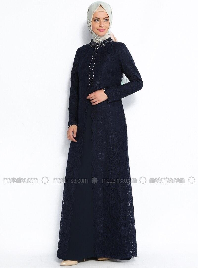 197c1015e40bc Üzeri Dantel Kaplamalı Abiye Elbise - Lacivert - Sevdem