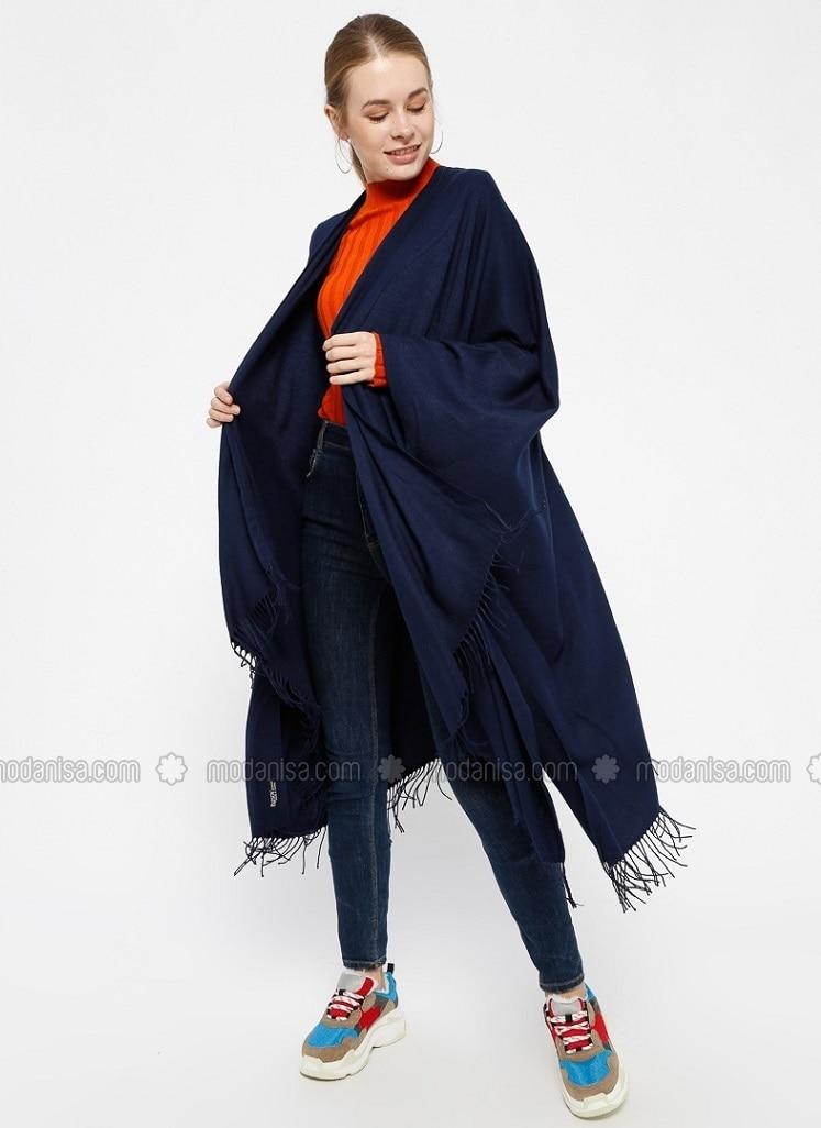 Pashmina Poncho - Navy Blue - Ozsoy