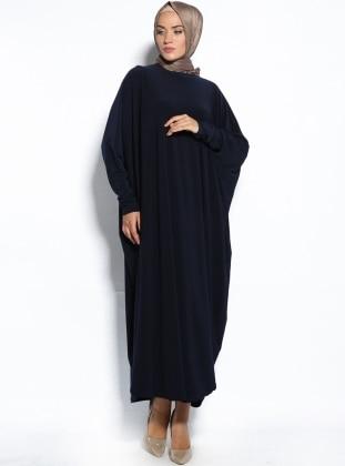 Yarasa Kollu Elbise - Lacivert