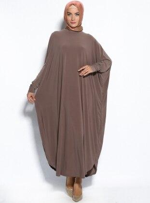 Yarasa Kollu Elbise - Vizon