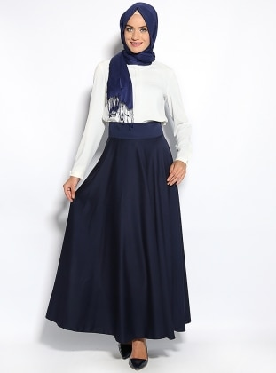 Simple Circular Skirt  - Navy Blue
