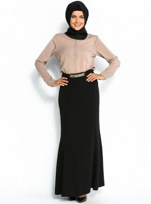 Zincir Süslemeli Balık Etek - Siyah Sevilay Giyim