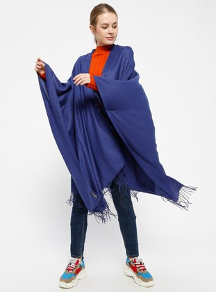 Plain Color Poncho - Navy Blue - Ozsoy
