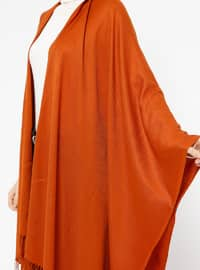 Plain Color Poncho - Red - Ozsoy