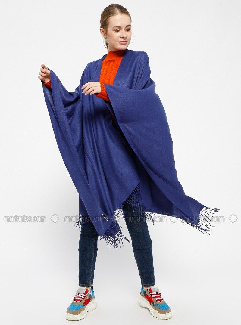 Plain Color Poncho - Navy Blue - Ozsoy
