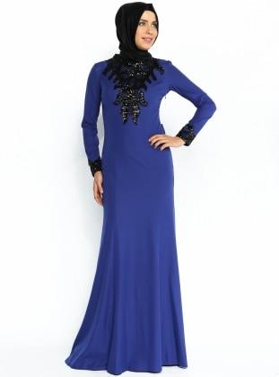 Önü & Arkası Payet Detaylı Abiye Elbise - Saks - Modaysa