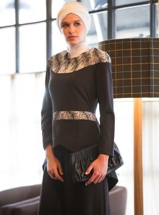 Peplum Abiye Elbise - Siyah-Beyaz