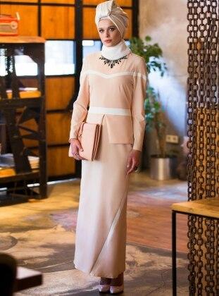 Peplum Detaylı Elbise - Pudra-Ekru