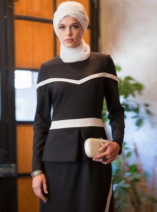 Tavin Peplum Detaylı Elbise - Siyah-Ekru