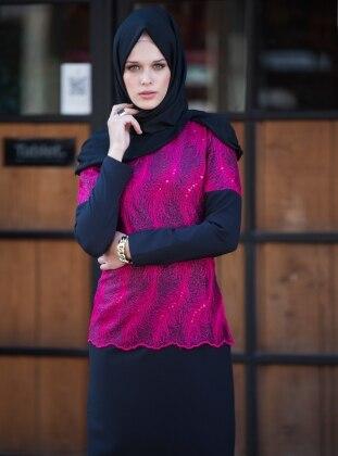 Tavin Üzeri Floş Dantelli Abiye Elbise - Siyah- Fuşya