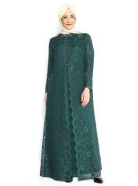Sevdem Abiye Üzeri Dantel Kaplamalı Abiye Elbise - Yeşil - Sevdem