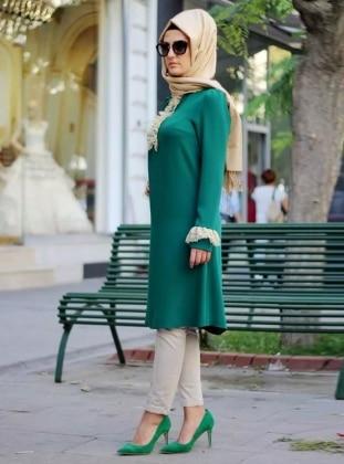 Dantelli Tunik - Yeşil
