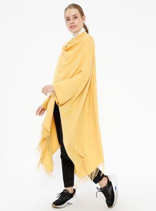 Plain Color Poncho - Yellow - Ozsoy