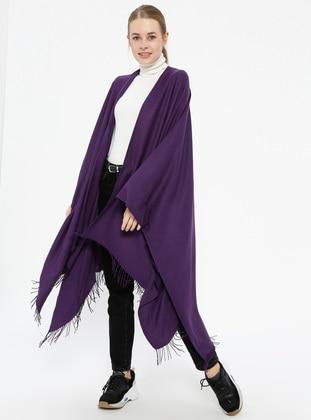 Plain Color Poncho - Purple - Ozsoy