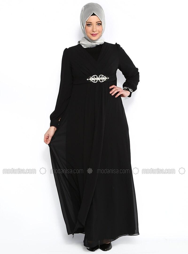 Waist and Arm Embellished Evening Dress - Black - Sevdem