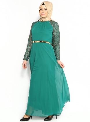 Varaklı Şifon Abiye Elbise - Yeşil - Modaysa Modaysa