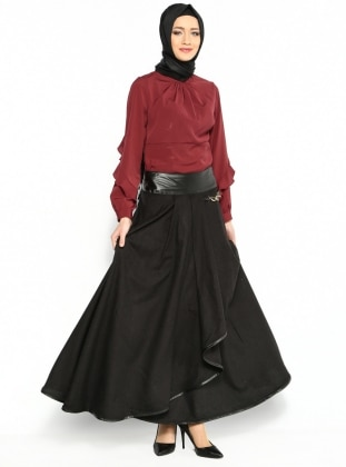 The floor Leather Skirt - Black - Veteks Line 98708