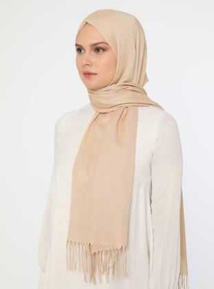 Beige - Beige - Plain - Cotton - Pashmina - Shawl
