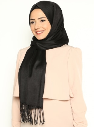 Pashmina - Black - Plain - Cotton - Shawl
