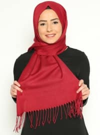 Pashmina - Red - Plain - Cotton - Shawl