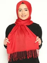 Pashmina - Red - Plain - Cotton - Shawl
