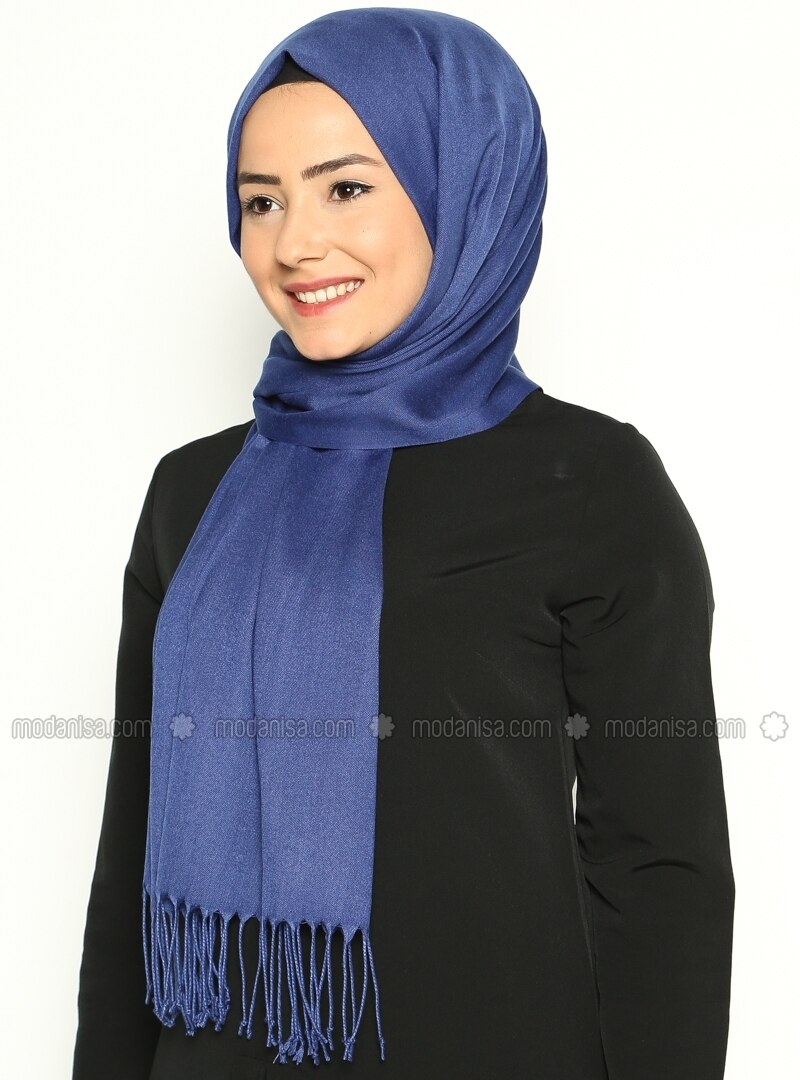 Pashmina - Navy Blue - Plain - Cotton - Shawl