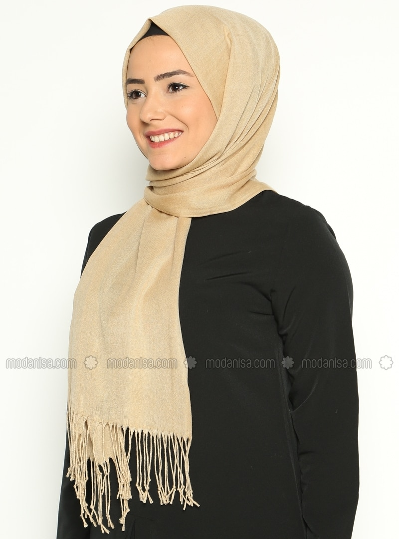 Pashmina - Beige - Plain - Cotton - Shawl