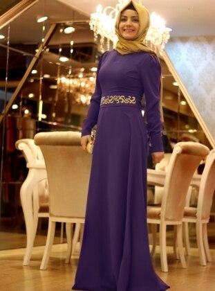 Nakışlı Elbise - Mor