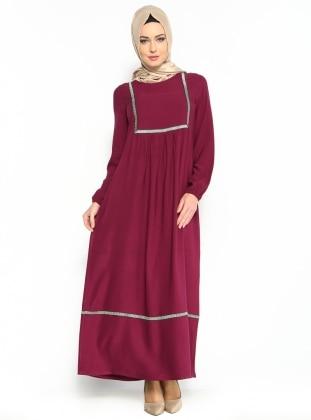 62d6a8e20b1fd Nakışlı Piliseli Elbise - Mürdüm - Cml Collection