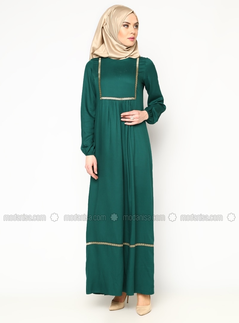 Embroideredpleated Dress Olive Green