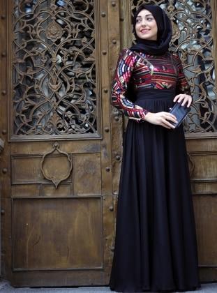 Renkli Pulpayetli Abiye Elbise -Siyah