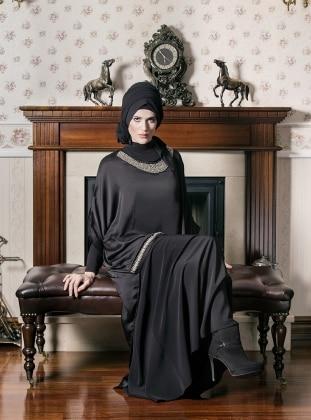 Yakası Ve Önü Taş İşlemeli Tunik - Siyah - Ferace By Arzu Ergen