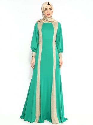 Green - Fully Lined - Crew neck - Muslim Evening Dress - MODAYSA 102284