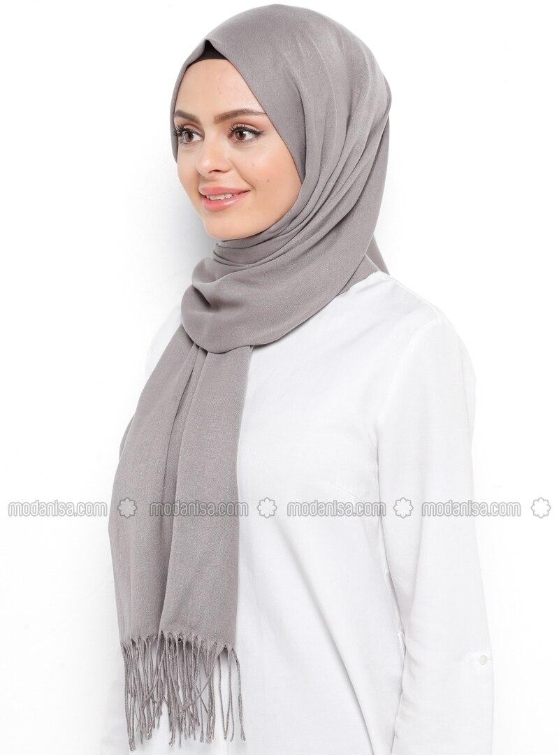 Pashmina - Gray - Plain - Shawl