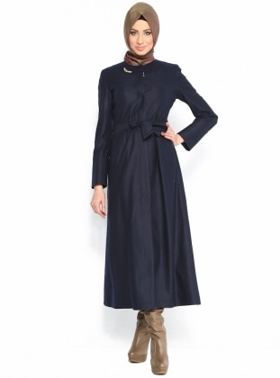 Felt Coat - Navy Blue
