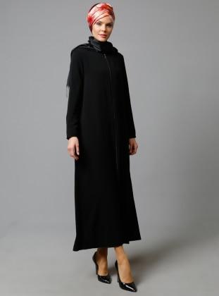 Kapüşonlu Ferace - Siyah