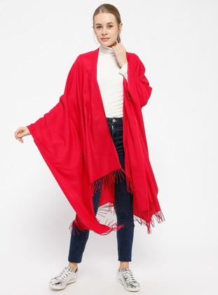Plain Color Poncho - Pink - Ozsoy