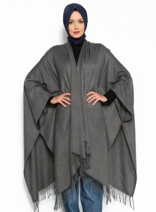 Plain Color Poncho - Gray - Ozsoy
