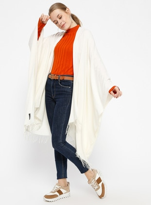 Plain Color Poncho - Ecru - Ozsoy