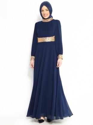 Yakası Ve Manşeti Gold Şifon Elbise - Lacivert - Modaysa Modaysa