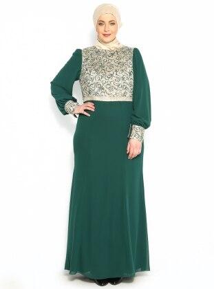 Beli Taşlı Abiye Elbise - Yeşil - Sevdem