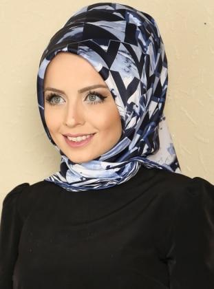 Geometri Desen Eşarp - Lacivert-Mavi - Özsoy Eşarp Özsoy