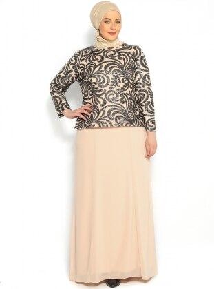 Payetli Abiye Elbise - Siyah - Sevdem