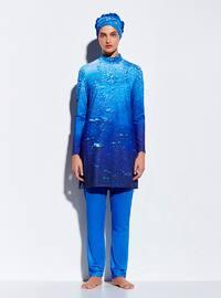Water Drop Printed Swimsuit - Navy Blue