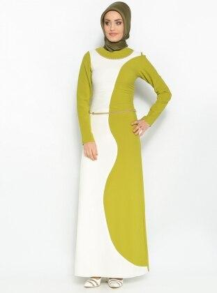 Taş Süslemeli Elbise - F.Yeşili