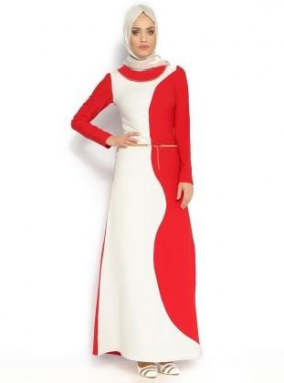 Taş Süslemeli Elbise - Kırmızı