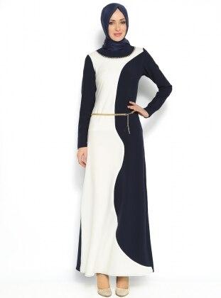 Taş Süslemeli Elbise - Lacivert