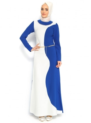 Taş Süslemeli Elbise - Saks