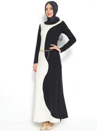 Taş Süslemeli Elbise - Siyah