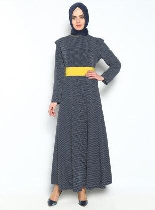 Puanlı Elbise - Lacivert